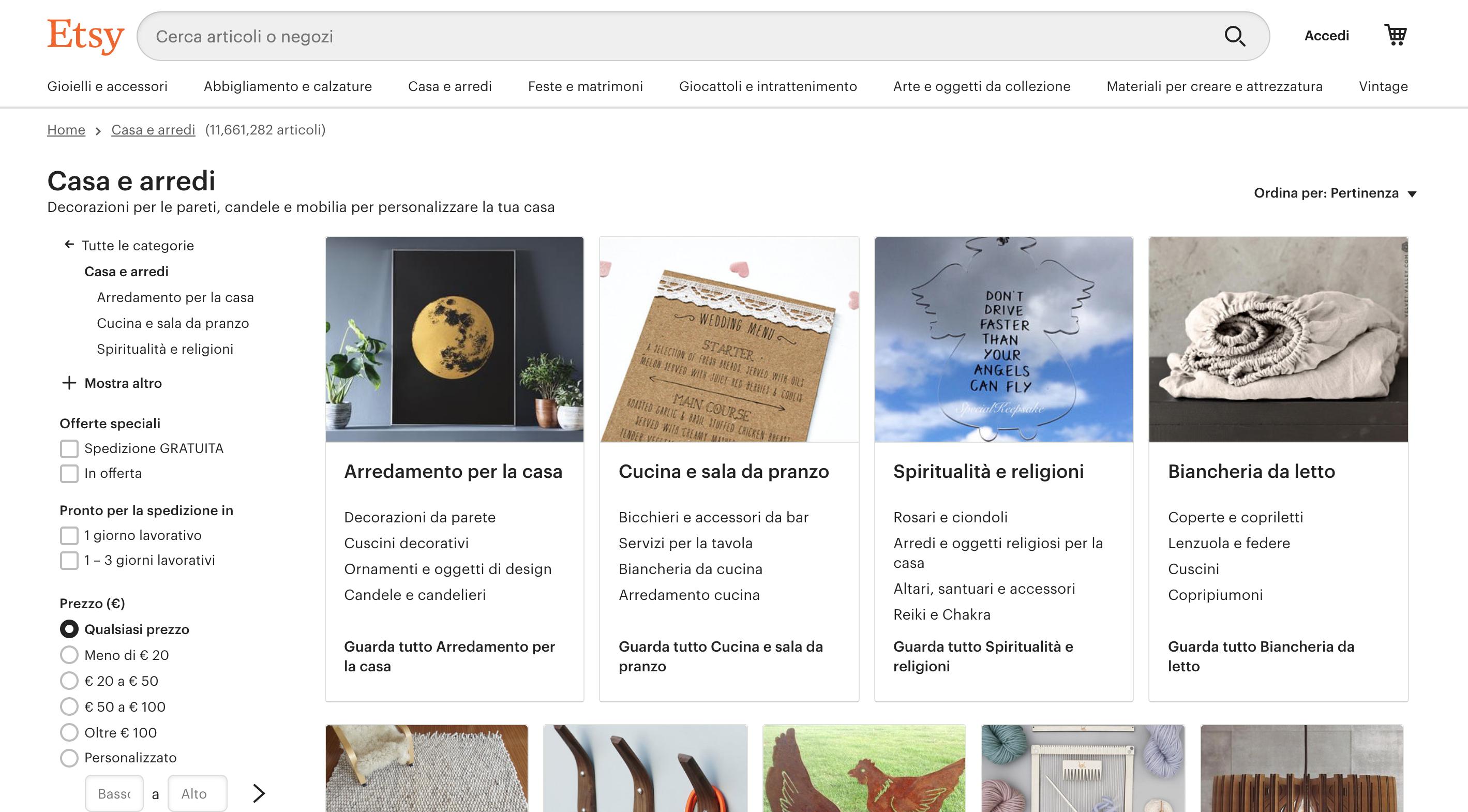 Etsy siti arredamento online