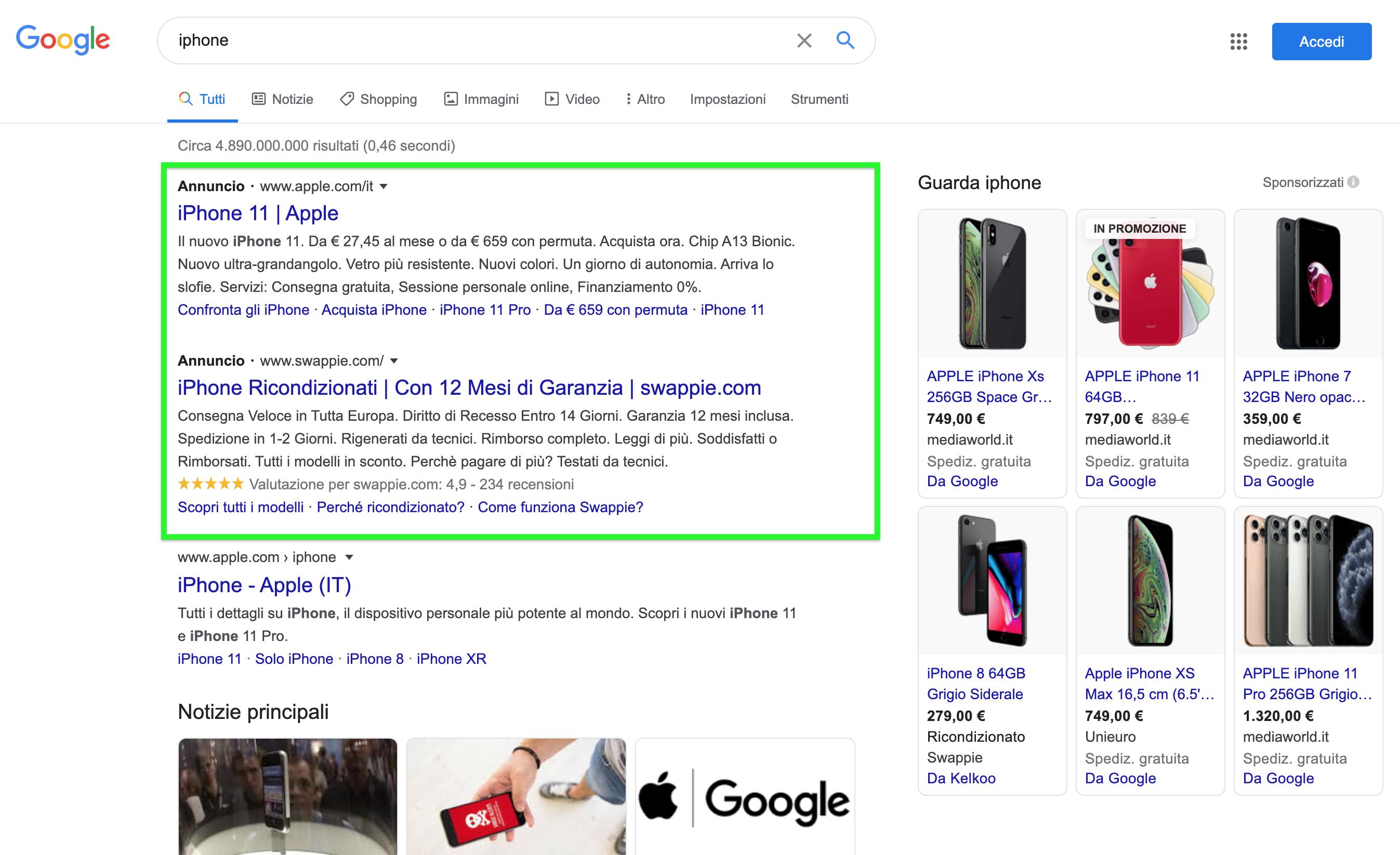 Google Ads (Adwords) search, annunci a pagamento nei risultati organici