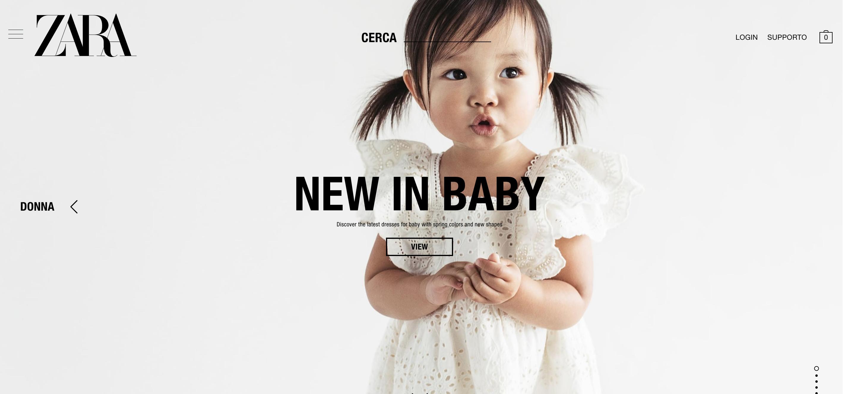 Zara Ecommerce abbigliamento bambini