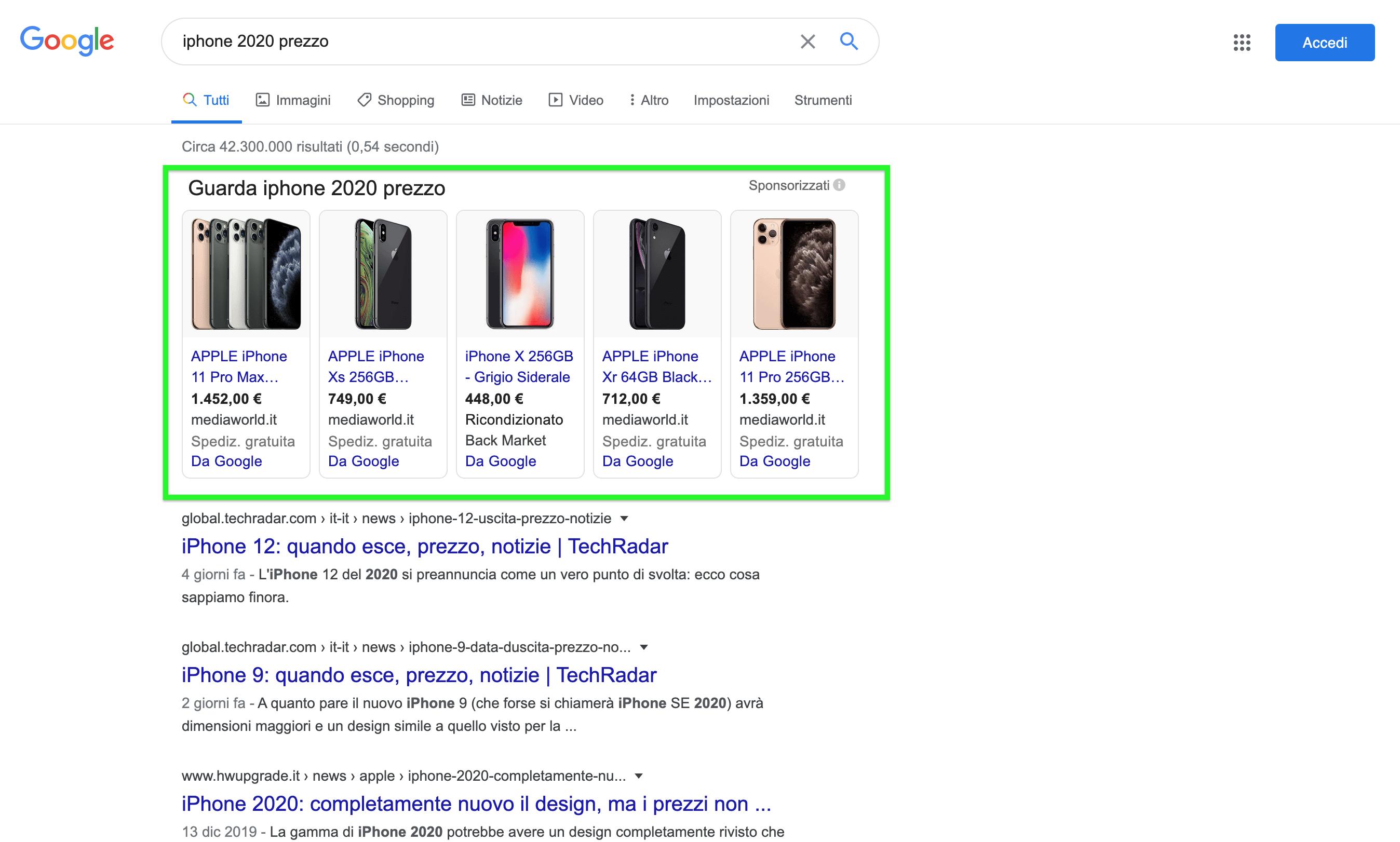 google shopping, annunci a pagamento