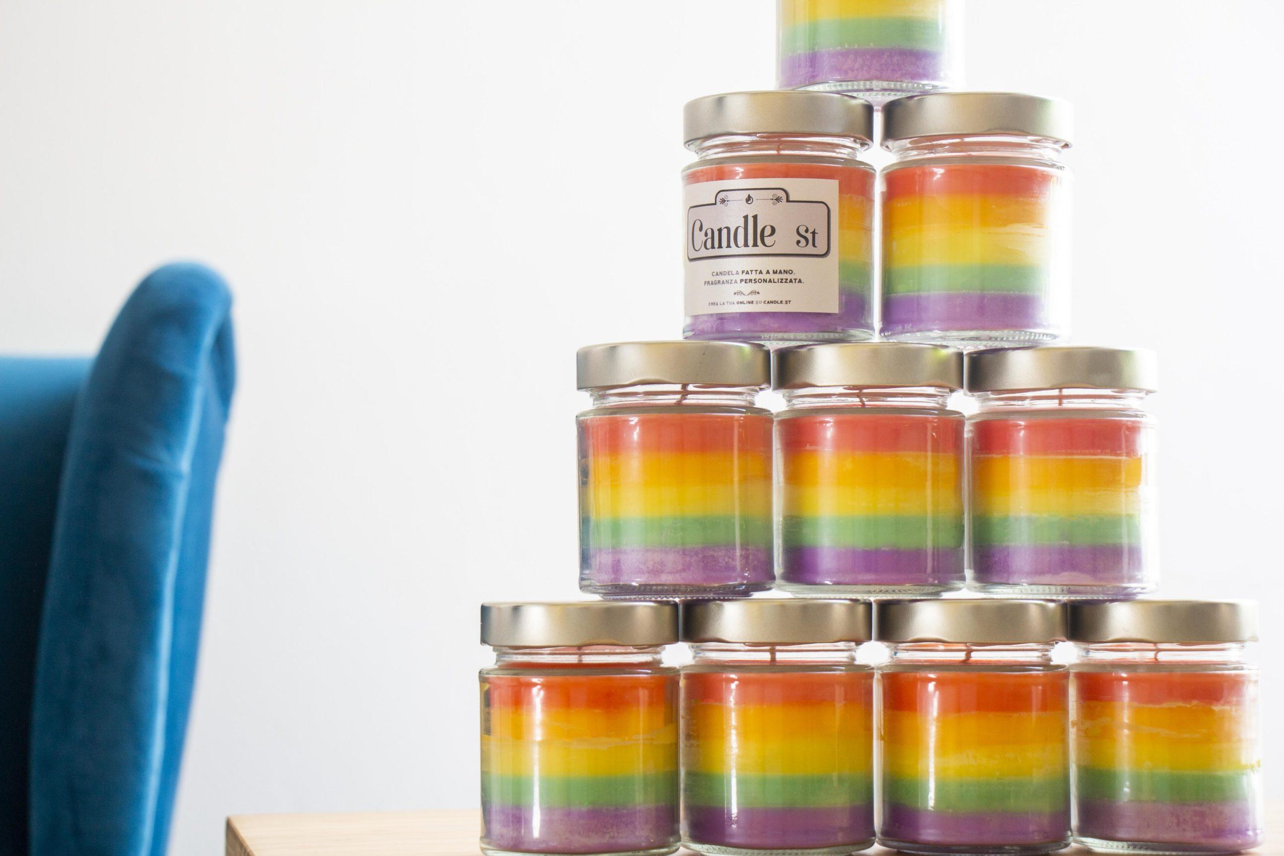 Candle Street candela arcobaleno