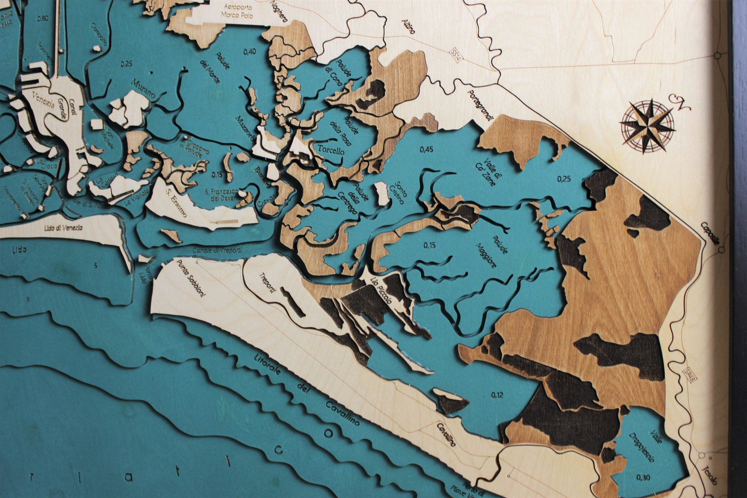 mappa topografica laguna veneta in legno Gecko Art