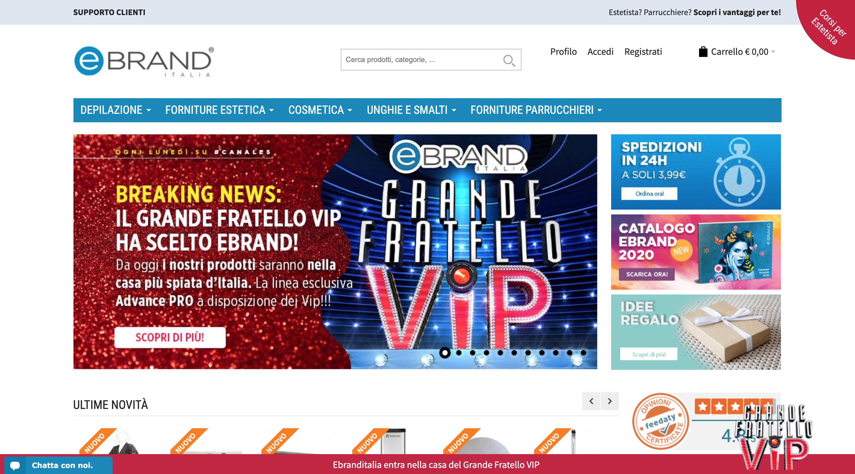 Grande Fratello Vip 2020 cosmetici Ebrand Italia