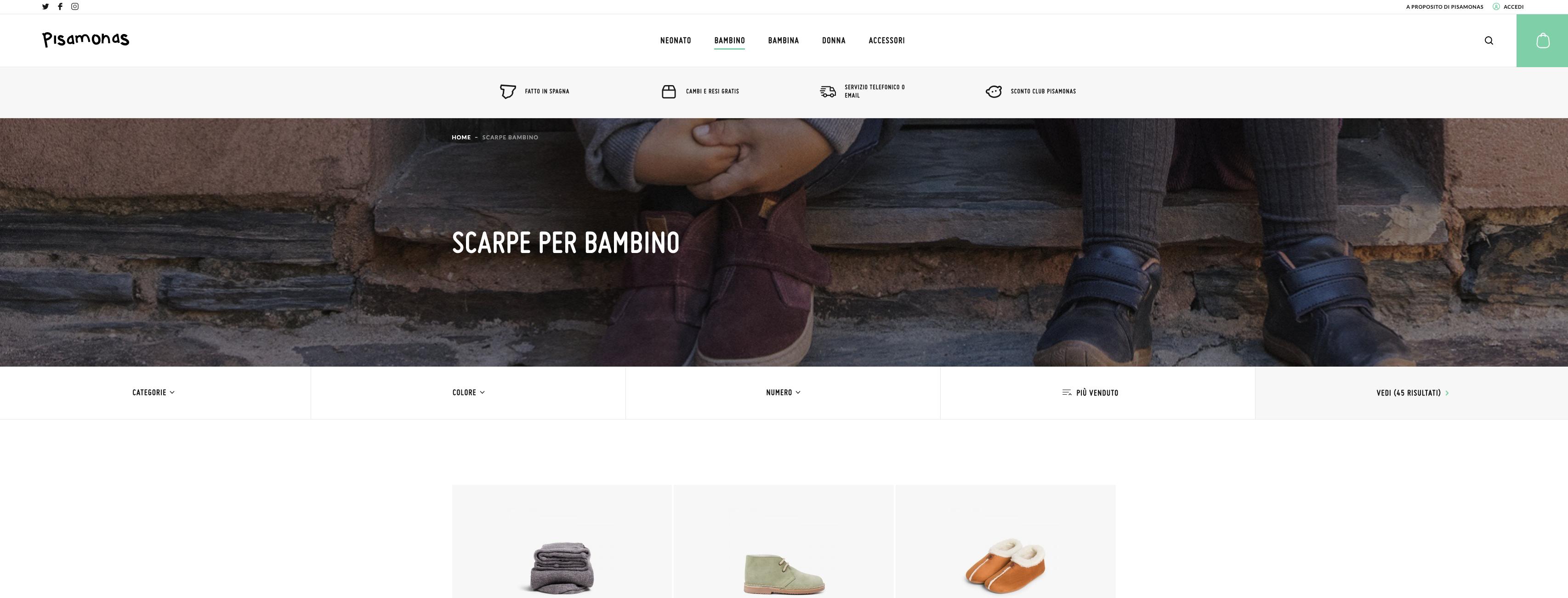 Pisamonas scarpe bambini online